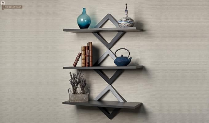 Ava Wall Shelves (Black Finish)-1
