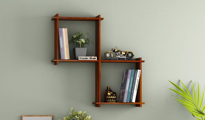 Bison Wall Shelf (Honey Finish)-1