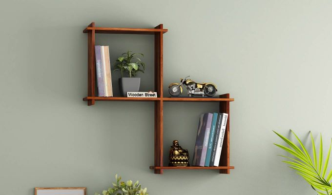 Bison Wall Shelf (Teak Finish)-1