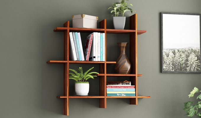 Caplan Wall Shelf (Teak Finish)-1