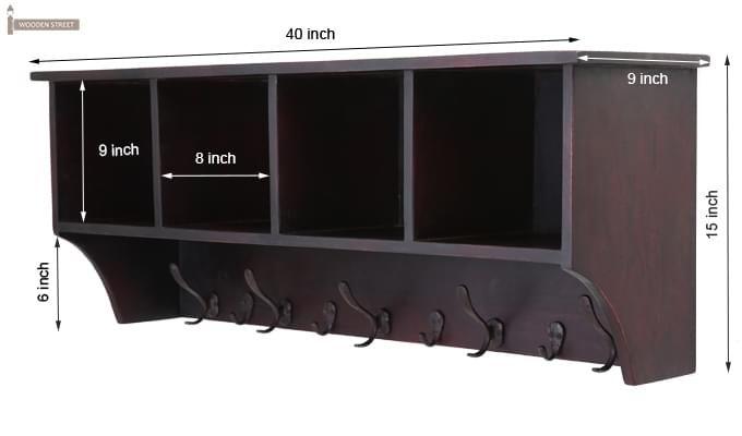 Dover Wall Hanging Shelves (Mahogany Finish)-5