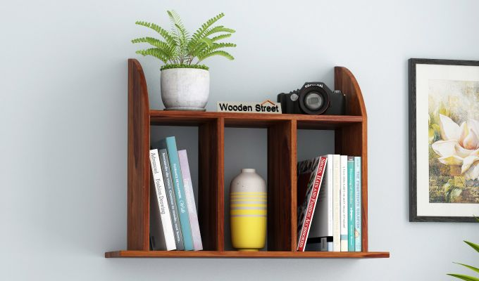 Frontus Wall Shelf (Teak Finish)-1