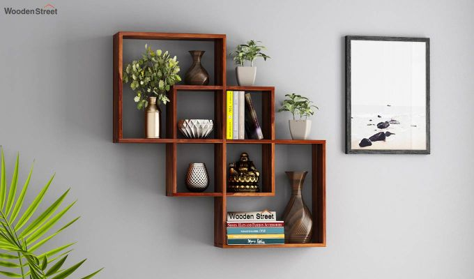 Grizzo Wall Shelf (Teak Finish)-1