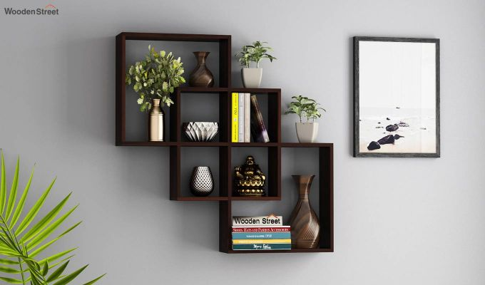 Grizzo Wall Shelf (Walnut Finish)-1