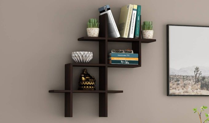 Helio Wall Shelf (Walnut Finish)-1