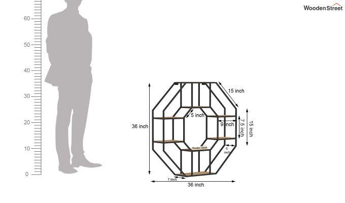 Hooper Hexagon Loft Wall Shelves (Natural Finish)-6
