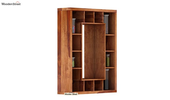 Jaden Wall Shelf With Mirror (Teak Finish)-2