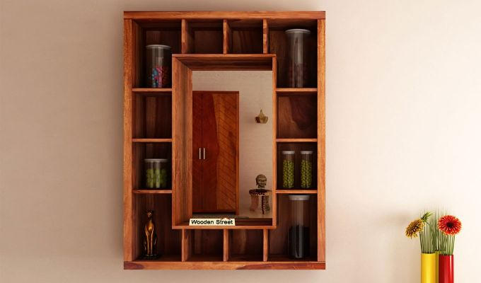 Jaden Wall Shelf With Mirror (Teak Finish)-1