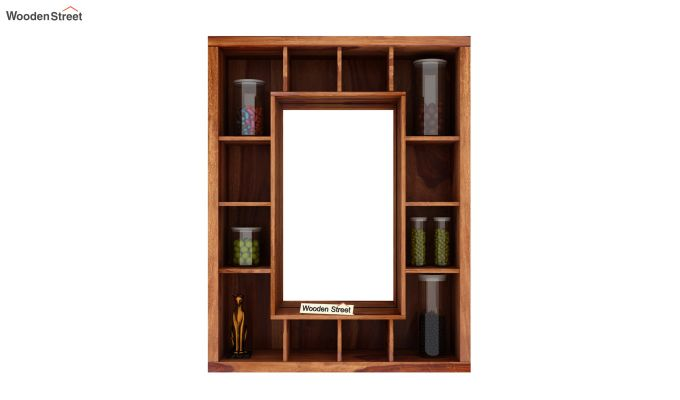 Jaden Wall Shelf With Mirror (Teak Finish)-3