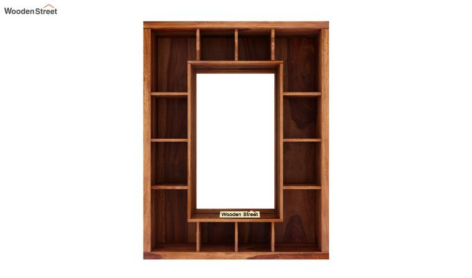 Jaden Wall Shelf With Mirror (Teak Finish)-5