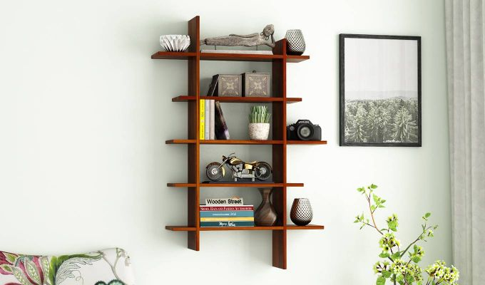 Lado Wall Shelf (Honey Finish)-1