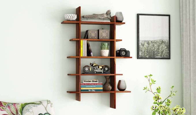 Lado Wall Shelf (Teak Finish)-1