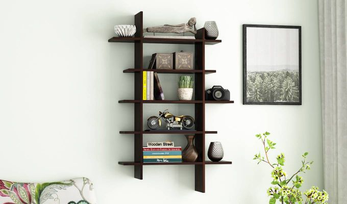 Lado Wall Shelf (Walnut Finish)-1