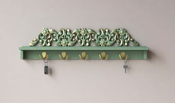 Maiden Wall Shelf with Hooks-1
