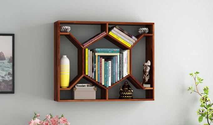 Nesto Wall Shelf (Teak Finish)-1