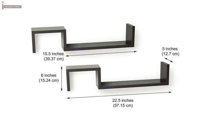 Otto Wall Shelves - Set Of 2 (Black Finish)-3