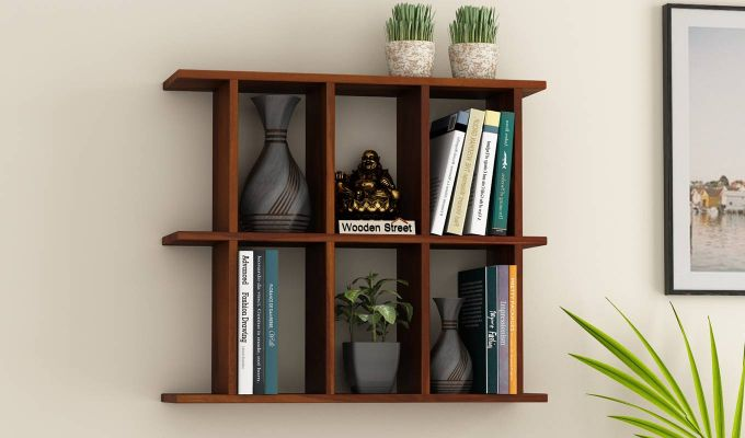 Plaza Wall Shelf (Honey Finish)-1