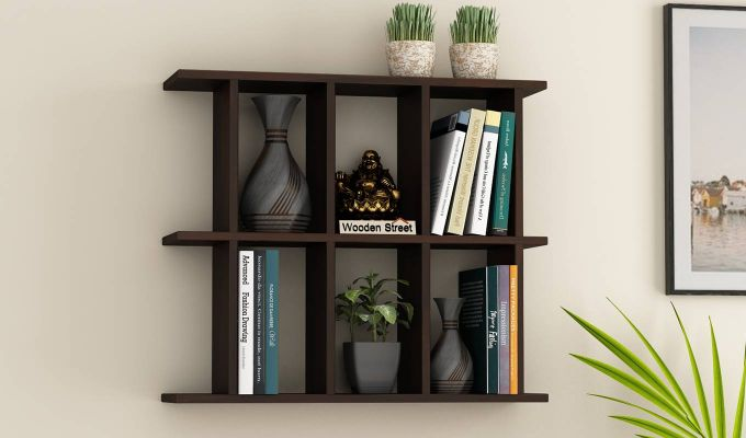 Plaza Wall Shelf (Walnut Finish)-1