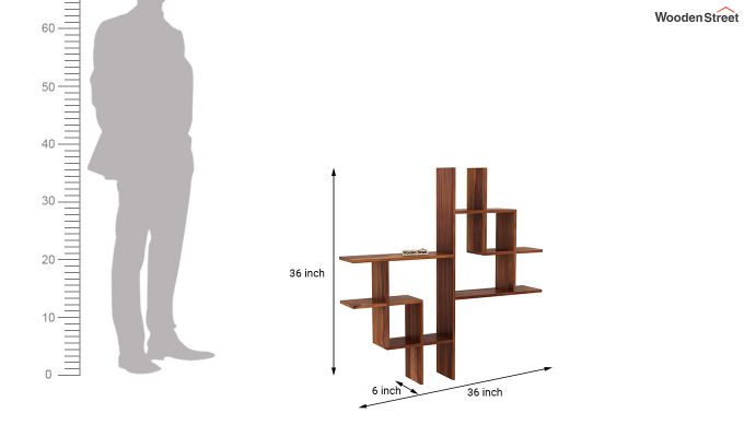 Retica Wall Shelf (Teak Finish)-4