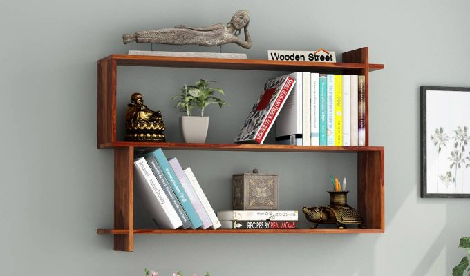 Sculpa Wall Shelf (Teak Finish)-1