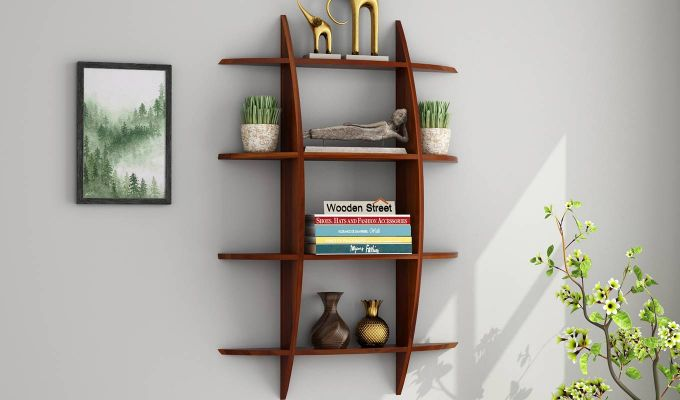 Shelly Wall Shelf (Honey Finish)-1