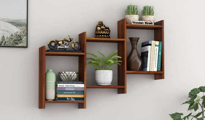 Stairo Wall Shelf (Honey Finish)-1