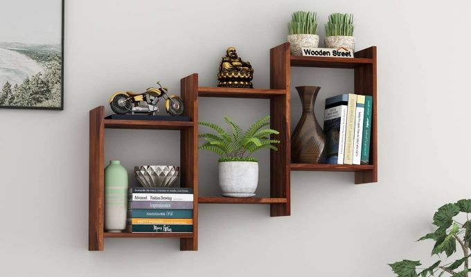 Stairo Wall Shelf (Teak Finish)-1