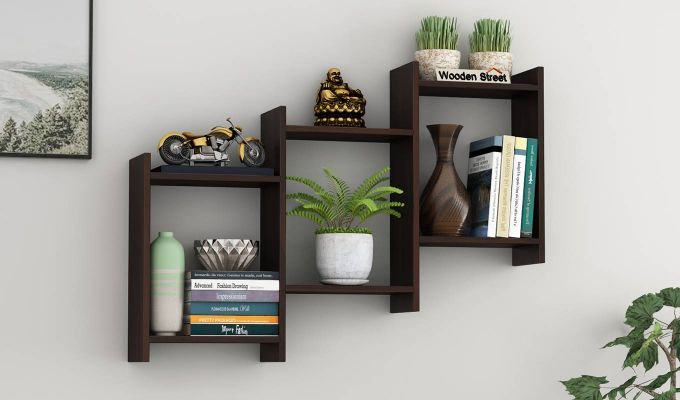 Stairo Wall Shelf (Walnut Finish)-1