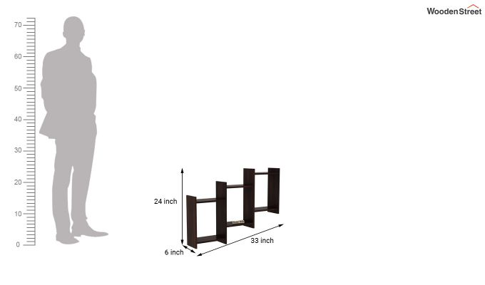 Stairo Wall Shelf (Walnut Finish)-4