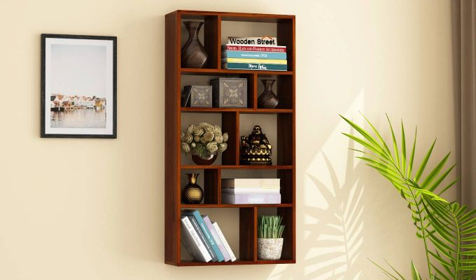 Taris Wall Shelf (Honey Finish)-1