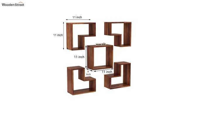 Tiber Wall Shelf (Teak Finish)-4