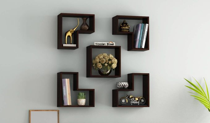 Tiber Wall Shelf (Walnut Finish)-1