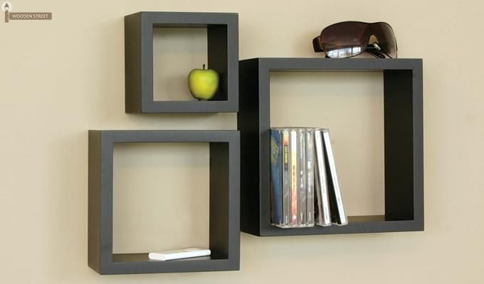 Trenton Wall Shelf - Set Of 3 (Black Finish)-1