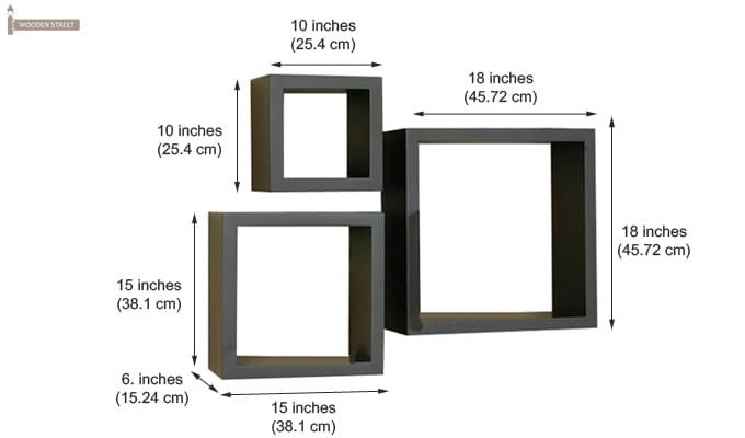 Trenton Wall Shelf - Set Of 3 (Black Finish)-2