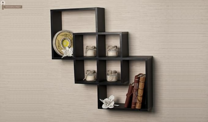 Veneer Wall Shelves (Black Finish)-1