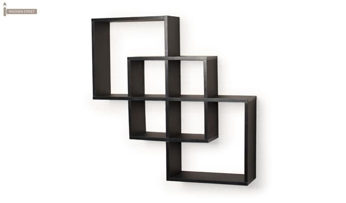 Veneer Wall Shelves (Black Finish)-2