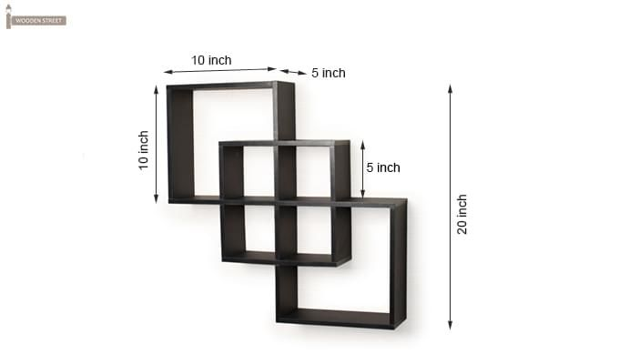 Veneer Wall Shelves (Black Finish)-3