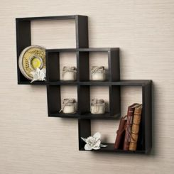 Veneer Wall Shelves (Black Finish)