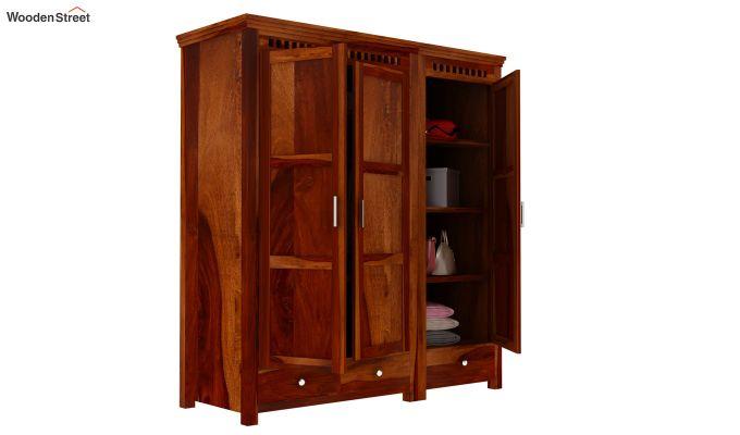 Adolph 3 Door Multi-Utility Wardrobe (Honey Finish)-2
