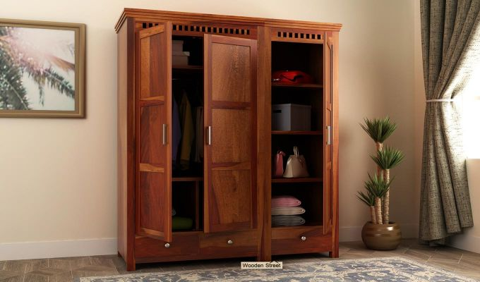 Adolph 3 Door Multi-Utility Wardrobe (Honey Finish)-1
