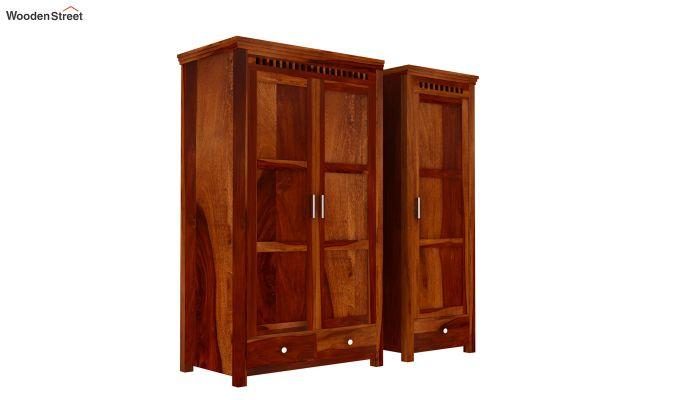 Adolph 3 Door Multi-Utility Wardrobe (Honey Finish)-6