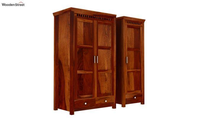 Adolph 3 Door Multi-Utility Wardrobe (Honey Finish)-8