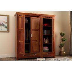 Adolph 3 Door Multi-Utility Wardrobe (Honey Finish)