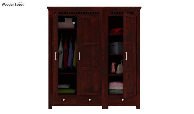 Adolph 3 Door Multi-Utility Wardrobe (Mahogany Finish)-2