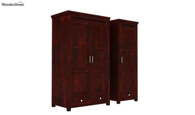 Adolph 3 Door Multi-Utility Wardrobe (Mahogany Finish)-5