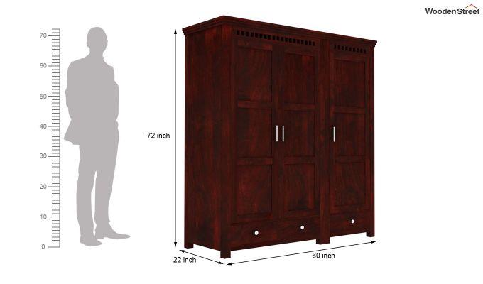 Adolph 3 Door Multi-Utility Wardrobe (Mahogany Finish)-8