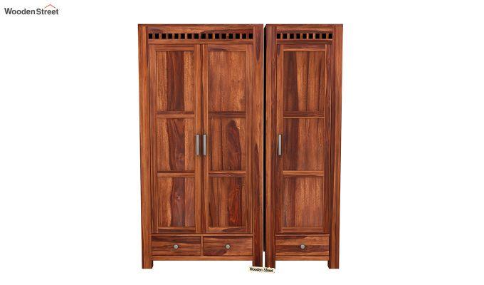 Adolph 3 Door Multi-Utility Wardrobe (Honey Finish)-3