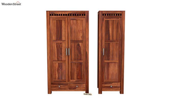 Adolph 3 Door Multi-Utility Wardrobe (Honey Finish)-5