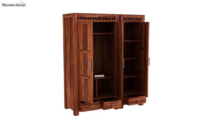 Adolph 3 Door Multi-Utility Wardrobe (Honey Finish)-7