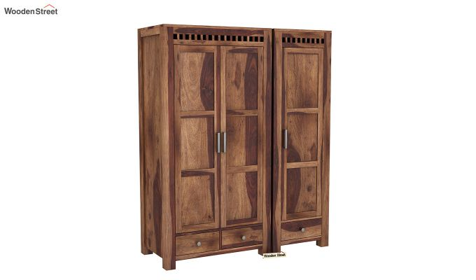 Adolph 3 Door Multi-Utility Wardrobe (Teak Finish)-2
